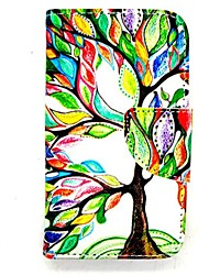 karzea ™ arbre de vie cuir PU TPU retour carte de la peinture cas titulaire de portefeuille avec boucle ovale pour iPhone 4 / 4S