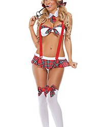 Cosplay Costumes Uniforms Festival/Holiday Halloween Costumes Plaid Skirt / Collar / Bra Female