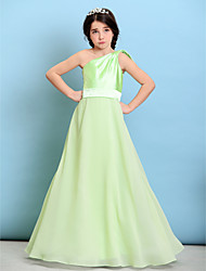 Lanting Bride® Floor-length Chiffon / Stretch Satin Junior Bridesmaid Dress A-line One Shoulder with Bow(s) / Sash / Ribbon