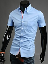 Men's Solid Casual Shirt,Cotton / Polyester Short Sleeve Blue / White