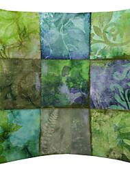 Light Color Plant Nine Patch Pattern Velvet Decorative Pillow Cover