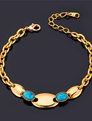 Fancy Cute Chain Bracelet 18K Real Gold Plated Turquoise Stone Link Bracelet for Women High Quality