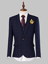 Navy Tattersall Slim Fit Suit In Polyester Three-Piece