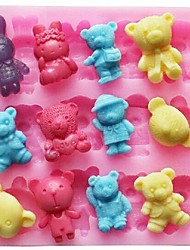 Bear Rabbit Animal Shaped Fondant Cake Chocolate Silicone Mold Cake Decoration Tools,L11.4cm*W10.6cm*H1.4cm