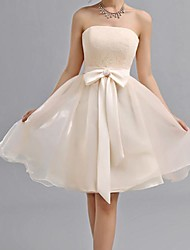 Knee-length Chiffon Bridesmaid Dress - Champagne A-line Sweetheart