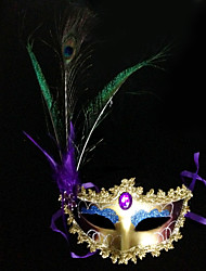 Peacock Feather and Eye Shadow Purple PVC Holiday Half-face Mask