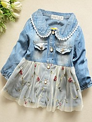 ressort de pur coton robe de denim de soie bourgeon de fille