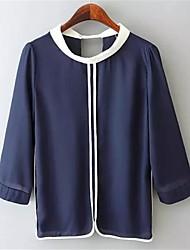 cuello borde camisa nueve manga de las mujeres