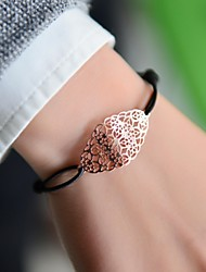 Fashion Women Oval Cut Out Stamping Elastic Bracelet