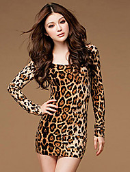 Aamikare Women's Leopard Prints Long Sleeve Sheath Dress
