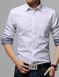 Masculino Camisa Casual / Tamanhos Grandes Cor Solida Manga Comprida Algodão / PoliésterPreto / Azul / Verde / Vermelho / Branco /