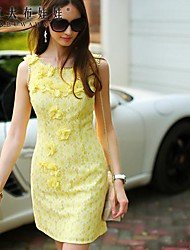Women's Yellow Dress , Bodycon/Casual/Lace Sleeveless
