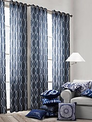 modernos um painel de cortinas de painel de poliéster geométrico azul bedroom cortinas
