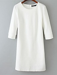 Women's Solid White Dress , Bodycon/Work Round Neck Long Sleeve