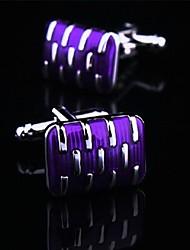 toonykelly argent cuivre émaillé violet manchette Mode pour hommes (argent) (1 paire)