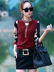 Women's Print Red/White/Black Blouse , Crew Neck Long Sleeve Beaded