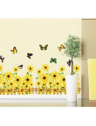Wandaufkleber Wandtattoo, sonne Blume und Schmetterling PVC-Wandaufkleber