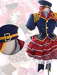Inspiriert von Liebesleben Maki Nishikino Anime Cosplay Kostüme Cosplay Kostüme Patchwork Rot Kurze ÄrmelTop / Shirt / Rock /