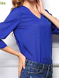 camicia chiffon manica lunga blu tallone v-collo di kissties®women