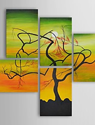 Oil Painting Modern Floral Serpentine Tree Set of 5 Hand Painted Canvas with Stretched Frame
