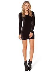 vestido de la cadera del bolso mangas de terciopelo negro otoño de las mujeres