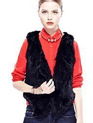 chaleco equipado elegante de piel sintética v cuello de la mujer sleevless