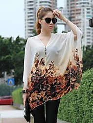 Women's Casual/Daily Simple / Street chic Summer Blouse,Floral Deep V Long Sleeve Thin
