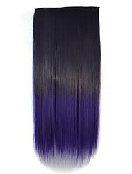 22-Zoll-Frauen Clip gerade schwarz lila Gradienten Haarteile synthetische Erweiterungen