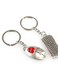Mouse and Keyboard Shaped Metal Keychain for Lover Valentine's Day(1 Pair)