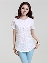 Women's White T-shirt , Round Neck Short Sleeve Lace