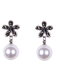 Stone Set Flower Pearl Earrings