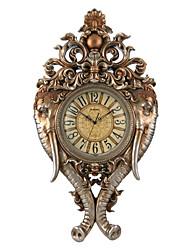 "34,4 ""h cuivre antique polyrésine placage or mute horloge murale"