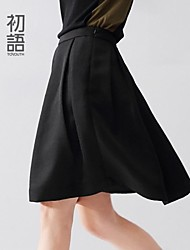 Women's Red/Black Skirts , Casual Knee-length