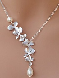 European Pearl Orchid Droplet Necklace