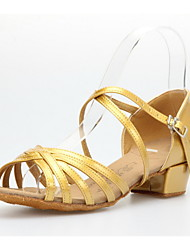 Non Customizable Women's/Kids' Dance Shoes Latin/Ballroom Leatherette Low Heel Gold/Gray