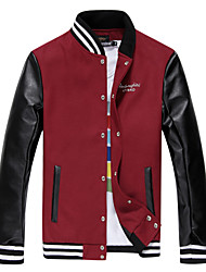 OUER Men's Long Sleeve Pu Leather Splice Slim Coat