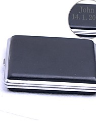 Personalized Gift Black Stainless Steel Cigarette Case 20 Cigarettes