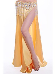 Belly Dance Stage Performance Side Slit Silk Skirt(More Colors)