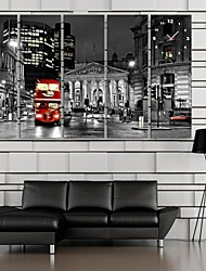e-Home® la vista notturna dell'orologio città in tela di canapa 5pcs