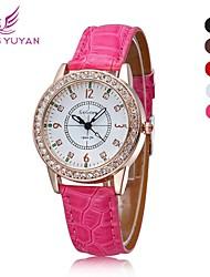 vrouwen strass horloge mode toevallige sport aanbiedingen dames Horloges quartz lederen band horloge (verschillende kleuren)