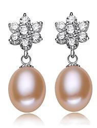 Women's Prevent Allergies Rhinestone Flower Freshwater Pearl Earrings(More Colors)