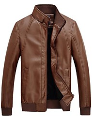 Men's Fashion Leather Jacket Collar