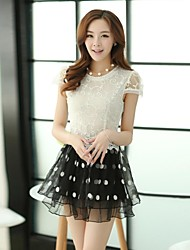 Women's Black/Yellow Dress , Lace Short Sleeve