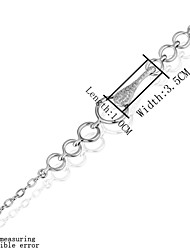 Simple Generous Women's Diamante Platinum Plated Tin Alloys Chain & Link Bracelet(White)(1Pc)