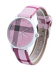 reloj de diamantes tartán circular cinturón movimiento chino de las mujeres (colores surtidos)