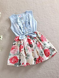 Girl's Multi-color Dress,Floral Denim Summer