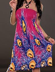 vestido de la playa impresión de la pluma de pavo real de las mujeres (más colores)