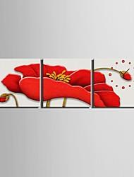 e-FOYER l'horloge fleurs rouge dans 3pcs toile
