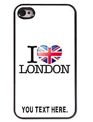 gepersonaliseerd geval ik houd van londen ontwerp metalen behuizing voor de iPhone 4 / 4s