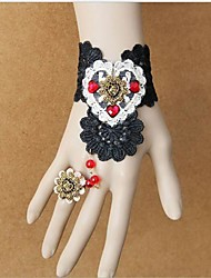 Handmade Heart and Black Lace Gothic Lolita Ring Bracelet